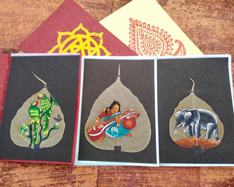 Hand Painted Pipal Leaf Card (Pack of 5, Assorted Art Work)