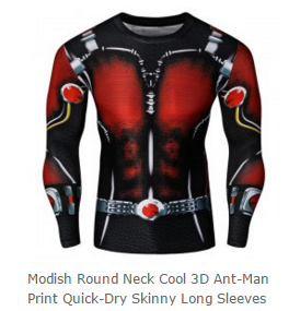 Round Neck Cool 3D Ant-Man Print Quick-Dry Skinny Long Sleeves Superhero T-Shirt