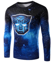 Round Neck 3D Starry Sky Autobot Transformers Print Long Sleeve T-Shirt
