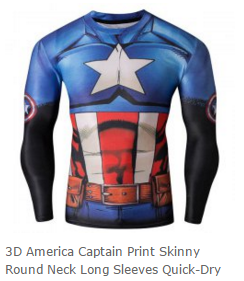 Round Neck 3D America Captain Print Long Sleeves