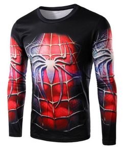 Round Neck 3D Spider-Man Costume Print Long Sleeve T-Shirt For Men