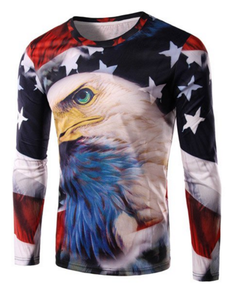 Round Neck 3D Eagle and Flag Print Long Sleeve T-Shirt For Men