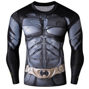 Quick-Dry Skinny Cool 3D Batman Pattern Round Neck Long Sleeves