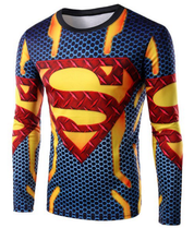 Round Neck 3D Logo Superman Print Long Sleeve T-Shirt For Men