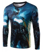 Round Neck 3D Batman Robot Print Long Sleeve T-Shirt For Men