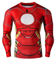 Round Neck 3D Iron Man Print Long Sleeve T-Shirt For Men