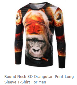 Round Neck 3D Gorilla Print Long Sleeve T-Shirt