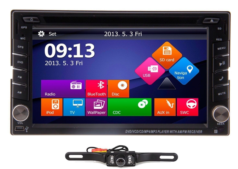 6.2 Double Din in Dash Car USB/SD/DVD/CD/TV Player+