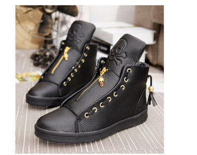 Men's Fashion Autumn Pu Leather High Top Sneakers Mens Black / White Platform Shoes Black