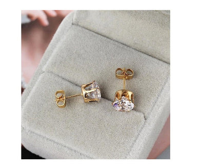 White Zircon 18K Gold Plated Crown Stud Earrings