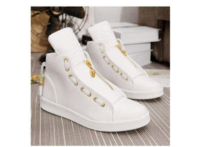 Men's Fashion Autumn Pu Leather High Top Sneakers Mens Black / White Platform Shoes