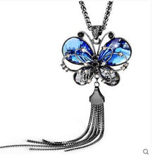 Long Chain Butterfly Crystal Necklace