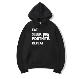 Pkorli Eat Sleep Fortnite Repeat Hoodies Men Women Casual Long Sleeve Hoodies Streetwear Hip Hop Male Pullover Hoody Fortnite