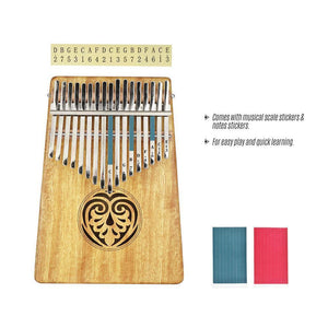 Kalimba 17 keys Solid Wood Thumb Piano with Carry Bag