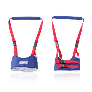 Dual Handheld Baby Walker Helper Toddler Safe Walking Harness Protective Adjustable Walk Learning Belt Assistant Cotton Dark Blue