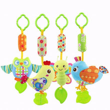Cute Cartoon Kids Gift Educational Toys Bed Car Hanging Stuffed Owl Chick Ring Bell Plush Doll Teether Baby Rattle