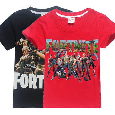 Fortnite short Sleeve T-shirts For boys Fashion cartoon print children's Clothes Minecraft 100%cotton baby girls tees kids tops