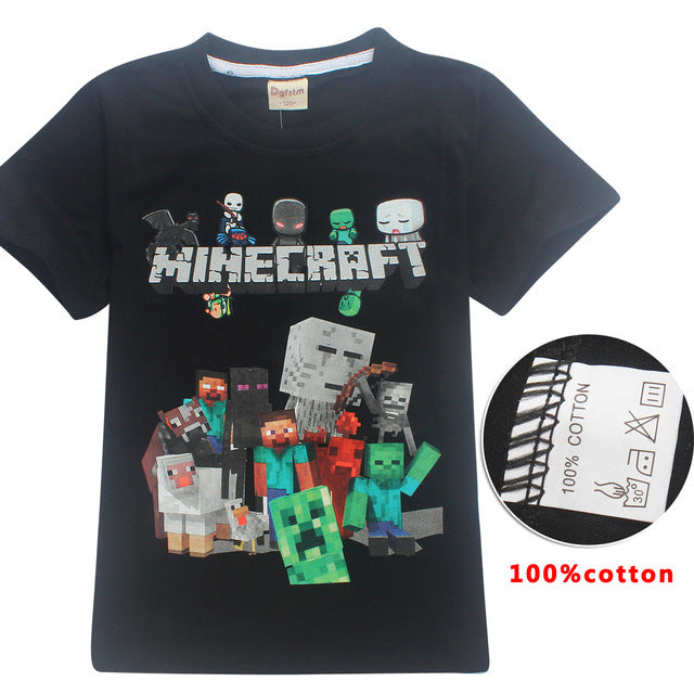 444b71a3 ... Fortnite short Sleeve T-shirts For boys Fashion cartoon print  children's Clothes Minecraft 100% ...