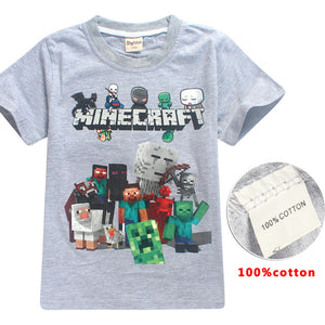 772031f9 Fortnite short Sleeve T-shirts For boys Fashion cartoon print children's  Clothes Minecraft 100%