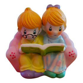 "Handpainted Ceramic Small Statue ""Couple Reading a Book"" Olive Wood"