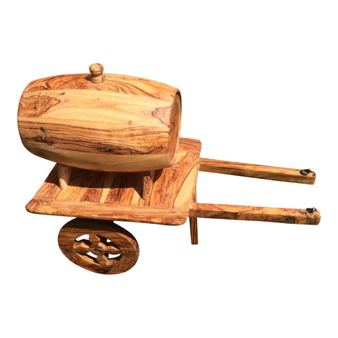 Small Barrel With Cart Olive Wood