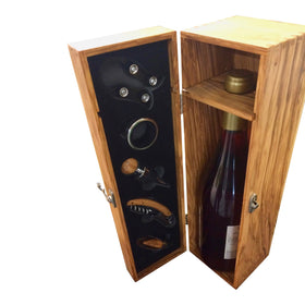 Wine Box With Accessorie Olive Wood