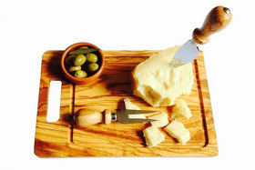 Rectangular Cutting Board With Groove Olive Wood
