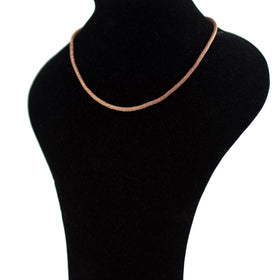 Pinkish Silver Necklace with Cord Weave Olive Wood