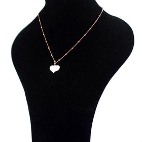 Pinkish Silver Necklace with Heart Shaped Pendant and Roud Inserts Olive Wood
