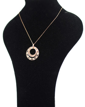 Pinkish Silver Necklace with Circular Shaped Perforated Pendants Olive Wood