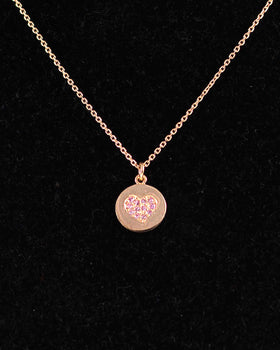 Pinkish Silver 925/1000 Necklace with Circular Pendants and Zircons Olive Wood