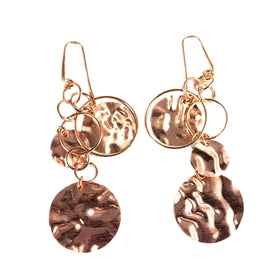 Earrings with Silver Pendant Olive Wood
