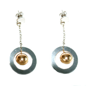 Earrings with Silver Round Shaped Pendant and Golden Sphere Olive Wood