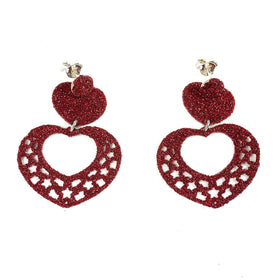 Glitter Heart Shaped Silver Earrings Olive Wood
