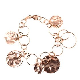 Pinkish Silver Bracelet with Circular Pendants Olive Wood