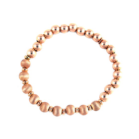 Pinkish Satin and Polished Silver Bracelet Olive Wood
