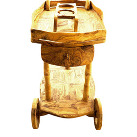 Cart With Wheels And Bottle Holders Olive Wood