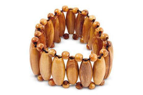 Elastic Band Bracelet with Inserts Olive Wood