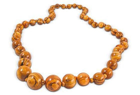 Necklace with Spherical Inserts Olive Wood