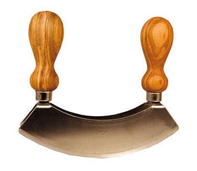 Double Blade Mezzaluna Chopper Olive Wood