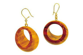 Domed Earrings with Hook Closure Olive Wood