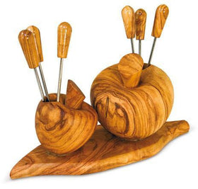 Apple Shaped Fork Holder Olive Wood