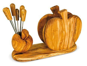 Apple Shaped Fork Holder and Napkin Holder Olive Wood