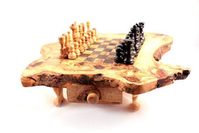 Chessboard with Bag without Chess Olive Wood