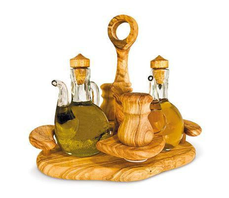 Oil Vinegar Salt and Pepper Set Olive Wood