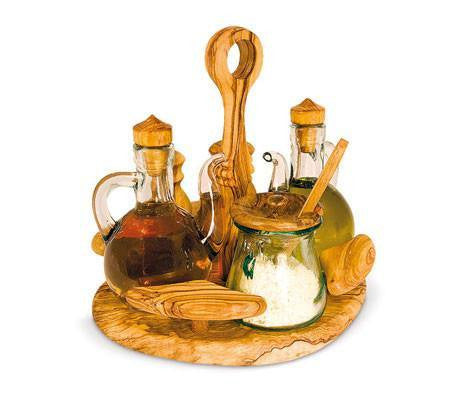 Oil Vinegar Salt and Pepper Set and Cheese Bowl Olive Wood