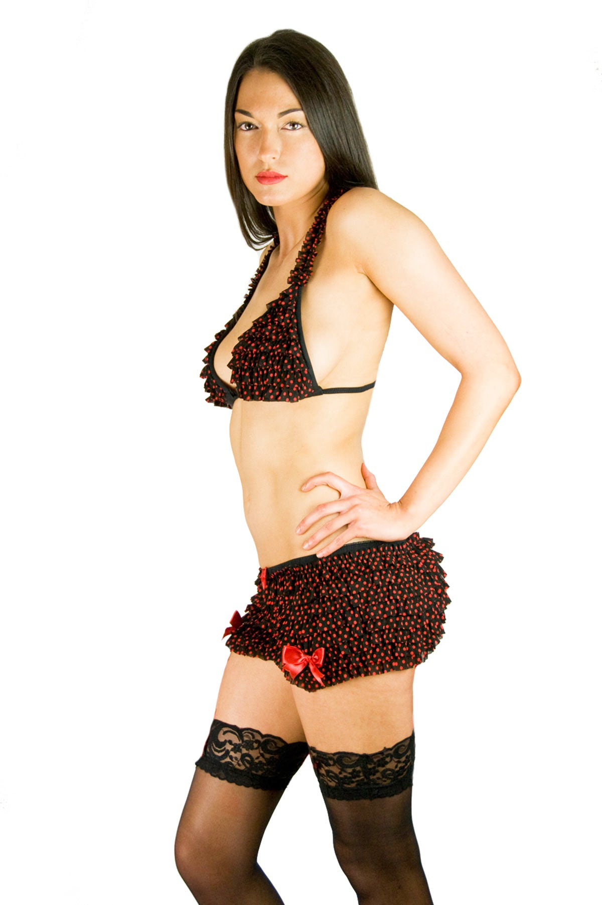 Red polka dot frilly ruffled bra and mini shorts lingerie set with red ribbons