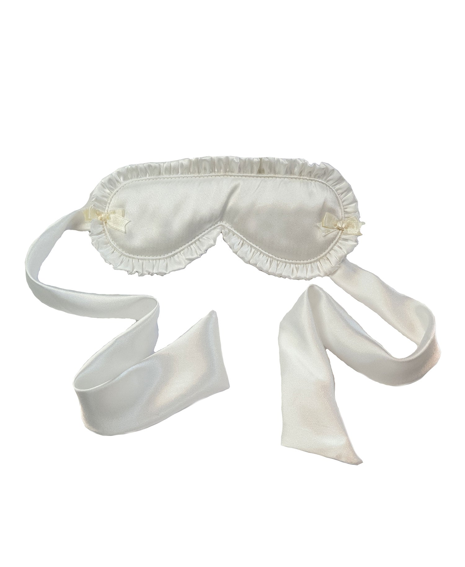Silky Satin Tie Ruffled Eyemask and Lace