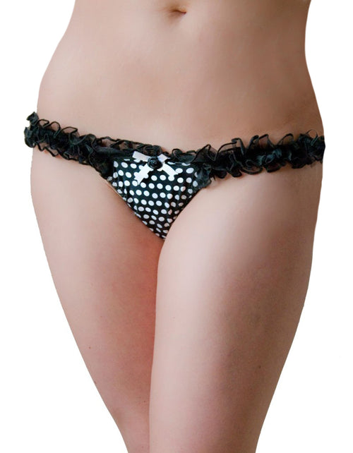 Black thong with ruffles and a polka dot crotch with a ribbon