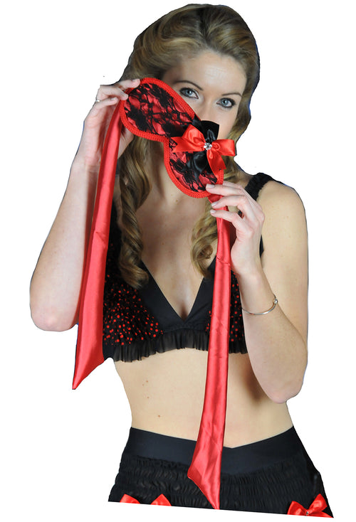 Satin Tie Ruffled Eyemask, Embroidered Blindfold